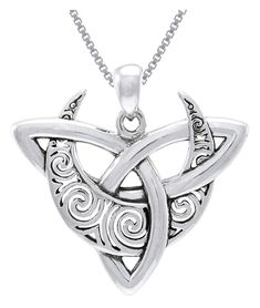 CGC Sterling Silver Celtic Triquetra Moon Goddess Trinity Knot Pendant on Box Chain Necklace Wiccan Jewelry