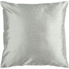 Shiny Solid Silver Seafoam Decorative Down Throw Pillow