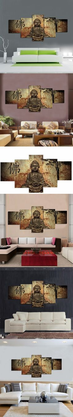 BUDDHA CANVAS ART modern home decoration 5 panel canvas prints buddha painting large living room wall pictures unframed $49.6