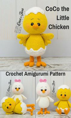 Coco the Little Chicken is a sweet crocheted amigurumi doll that would love to cheep and peck around your house. She would look adorable tucked into an Easter Basket, but she is also fun to have around all year long. You can create your own Coco the Little Chicken with this downloadable pattern. #crochet #amigurumi #crochetdoll #ad #amigurumidoll #amigurumipattern #chicken #easter #instantdownload