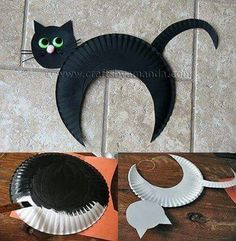 Incredible DIY Paper Plate Crafts Ideas for Kids Kids Crafts halloween crafts for kids/black cats Chat Halloween, Halloween Arts And Crafts, Halloween Crafts For Toddlers, Toddler Crafts, Preschool Crafts, Kids Crafts, Halloween Decorations, Craft Kids, Bat Craft