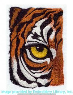 Stickmotiv Stickbild Aufnäher Stickerei Emblem Asien Tiger Tiger / Stickerei Eye of the Tiger (E4368)