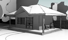 Sheds should be exciting! This sketch of a shed adds a wraparound porch, peak in the hip roof, nice doors and windows to give it a subtle amount of flare. Wraparound Porch, Backyard Buildings, Hip Roof, Sheds, Gazebo, Flare, Sketch, Design Ideas, Outdoor Structures
