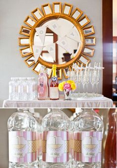 A Baby-Friendly Bubbly Bar: The bar setup featured rose Champagne and sparkling lemonade (a festive option for the mom-to-be!) Water bottles were customized with labels from Paige's Etsy shop, and bottles were adorned with crystal accents.