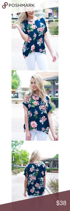 Floral Cold Shoulder Top Floral cold shoulder bubble crepe round neck top. 95% polyester 5% spandex. True to size B Chic Boutique Tops