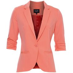 Coral coloured blazer with single front button and 3/4 sleeves with pleated endings. At the front of the fitted blazer there are mesh pockets. Style tip: Pair …