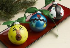 Three Fingerprint Holiday Ornaments - A simple Christmas craft to make with kids. Save your ornaments for years to come.