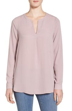 Pleione Slit Neck Shirttail Blouse available at #Nordstrom