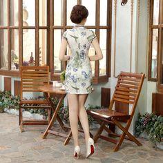 Short length Cotton-Linen Fabric Cheongsam Qipao Chinese dress LGD47-05