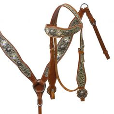 Showman ® Headstall and breast collar set with snake print overlay and iridescent crystal conchos