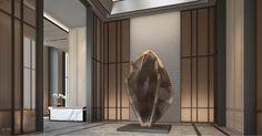 CR Land Residence - Shenzhen - Interiors - SCDA Lobby Interior, Office Interior Design, Interior Decorating, Scda Architects, Hotel Corridor, Hotel Lobby Design, Public Hotel, Hotel Reception, Hospital Design