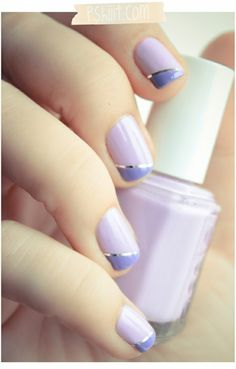 Gorgeous manicure - lilac and purple with silver stripe.