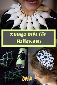 3 last minute ideas for the Halloween costume- 3 Last Minute Ideen für das Halloween-Kostüm Scary beautiful DIY ideas for crafting with children … - Costume Halloween, Fete Halloween, Halloween Porch, Halloween Snacks, Halloween Night, Diy Costumes, Halloween Make Up, Halloween Crafts, Halloween Decorations