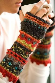 warm colourful fingerless gloves