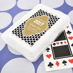 Personalized Graduation Favors - Playing Cards (Event Blossom EB2102Z) | Buy at Wedding Favors Unlimited (http://www.weddingfavorsunlimited.com/personalized_graduation_playing_card_favors.html).