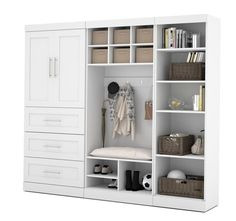"Pure White 97"" Door Mudroom Set With 3 Drawers"