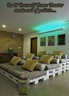 DIY Home theatre set up made from pallets...is there anything you can't do with pallets?!