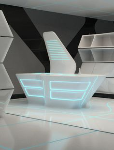 Zam's world evolvo, futuristic interior design, tron movie, futuristic furniture, neon light, modern, minimalistic