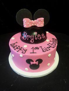 Cookie Jar Bakeshop I Custom Cakes I Birthday Cake I Minnie Mouse Themed Birthday Cake I Pink & Black Birthday Cake I Juvenile Birthday Cake I 1st Birthday Cake
