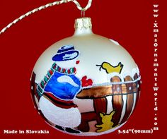 "This vintage style Christmas ball ornament is 3.54""(90mm) in diameter. It's made of hand blown glass and hand painted in Slovakia. Each glass ornament is painted individually which makes them unique and adds some small variations to each product."
