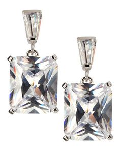 Radiant-Cut CZ Drop Earrings by CZ by Kenneth Jay Lane at Neiman Marcus Last Call.