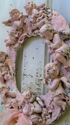 Shabby chic plaster cherub wall wreath hand by AnitaSperoDesign, $110.00