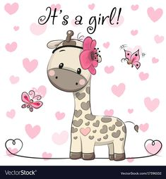 Baby Shower Greeting Card with Giraffe girl. Baby Shower Greeting Card with cute Cartoon Giraffe girl vector illustration Cartoon Giraffe, Giraffe Art, Cute Giraffe, Cute Cartoon, Baby Shower Greetings, Baby Shower Greeting Cards, Baby Cards, Cartoon Mignon, Baby Shower Background