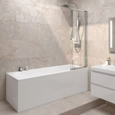 1700mm Straight Bath & Sliding Screen - soak.com