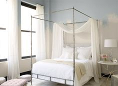 Bedroom color inspiration in a pale blue tint!!! Bebe'!!! A very relaxing color!!!