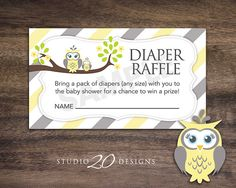 Instant Download Yellow Owl Diaper Raffle Cards by Studio20Designs