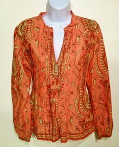 Fall Fashion by TALBOTS PETITES WOMEN'S PAISLEY TUNIC SZ S SEQUIN BOHO PEASANT SHIRT TOP BLOUSE  #Talbots #Blouse #Career $18.00 Free Shipping!