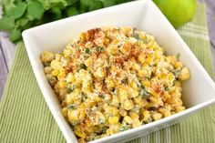 Lightened up Mexican Street Corn Salad that's creamy, slightly spicy, and super delicious. Under 100 calories per serving for the best summer side dish. #salad #sidedish #kidfriendly #makeahead #quickandeasy