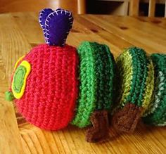 A free crochet pattern for the Very Hungry Caterpillar.