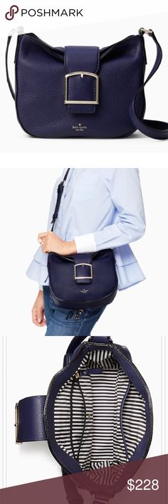 NWT Kate Spade crossbody in deep indigo Brand new with tags and dust bag included. Gorgeous deep indigo color goes with everything! Adjustable cross body strap, details in pics. kate spade Bags Crossbody Bags