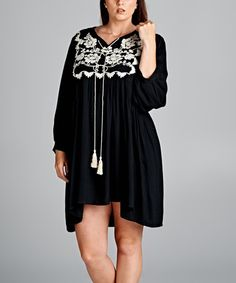 Another great find on #zulily! Black Floral Tassel Notch Neck Dress - Plus #zulilyfinds