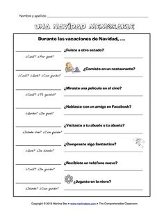 Christmas vacation communicative activity in Spanish for the first day back from break in January - practices (mostly) regular preterite verbs. Free!