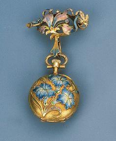 Art Nouveau Enamel Pendant Watch - rose-cut diamond detail, guilloch enamel surmount, ca.1905