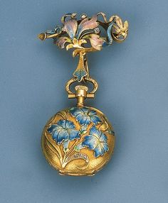 wasbella102:  Art Nouveau Enamel Pendant Watch - rose-cut diamond detail, guilloch enamel surmount, ca.1905