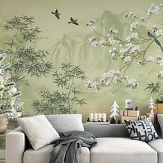 Lemon Green Landscape Scenic Wallpaper Wall Mural, Moutains Trees Bamboo Birds Flowers Wall Decal, B Wallpaper Wall, Scenic Wallpaper, Cleaning Walls, Green Landscape, Wall Stickers, Wall Decal, Wall Murals, Family Room, Design