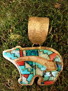 Vintage Zuni Inlay 14K Gold Bear Pendant Handmade Wilson Manning Extremely fine