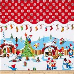 Michael Miller Holiday Holly Jolly Gnomes Red