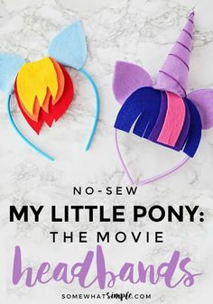 My Little Pony Headbands – No Sew! – Somewhat Simple These no-sew My Little Pony headbands are so adorable and so easy to make! They're perfect for all the pony lovers in your life! My Little Pony Party, Fiesta Little Pony, My Little Pony Craft, Cumple My Little Pony, My Little Pony Costume, My Lil Pony, Rainbow Dash Party, Unicorn Birthday Parties, Unicorn Party