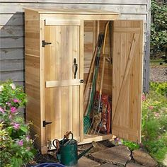 Outdoor Living Today Garden Chalet 4 x 2 ft. Tool Shed - Make the most of what you have with the Outdoor Living Today Garden Chalet 4 x 2 ft. Tool Shed . Made with attractive, sturdy Western red cedar,. Garden Tool Shed, Garden Storage Shed, Outdoor Storage Sheds, Diy Shed, Outdoor Sheds, Shed Blueprints, Small Sheds, Tool Sheds, Shed Design