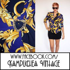 Vintage 1980s Swirl Abstract Print Blue Jacket Womens szS - Retro Kitsch FREEP