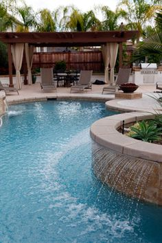 Exposed beam with water feature. Pool.