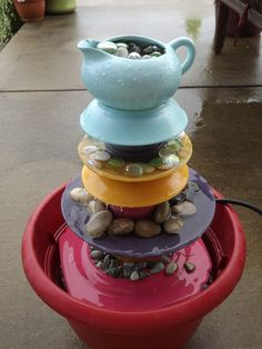 DIY Container Fountains | DIY water fountain using terracotta pots and old ... | Outside Projec ...