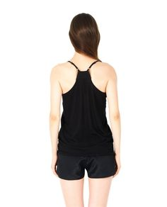ILARIA NISTRI S/S 2016 Black cotton tank-top V-neck with thin straps silk inserts 100% CO  Inserts: 100% SE