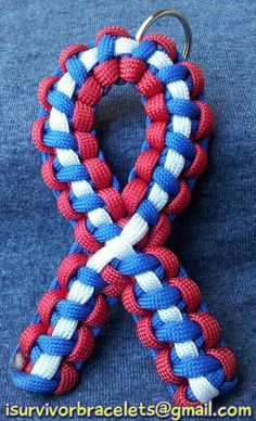 Awareness ribbon in red, white and blue, 550 cord.  $10.00