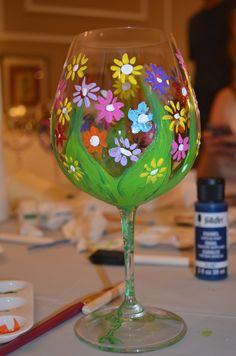 Wine glasses decorated by party participants