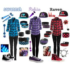"""Untitled #35"" by poison-kisses on Polyvore...idk what these names are and can't stand the hats but super cute outfits!"